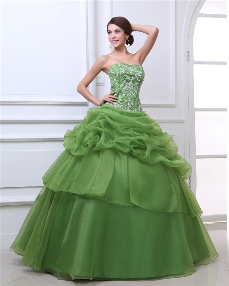 Ball Gown Sweetheart Floor Length Embroidery Beading Organza Woman Quinceanera Prom Dress