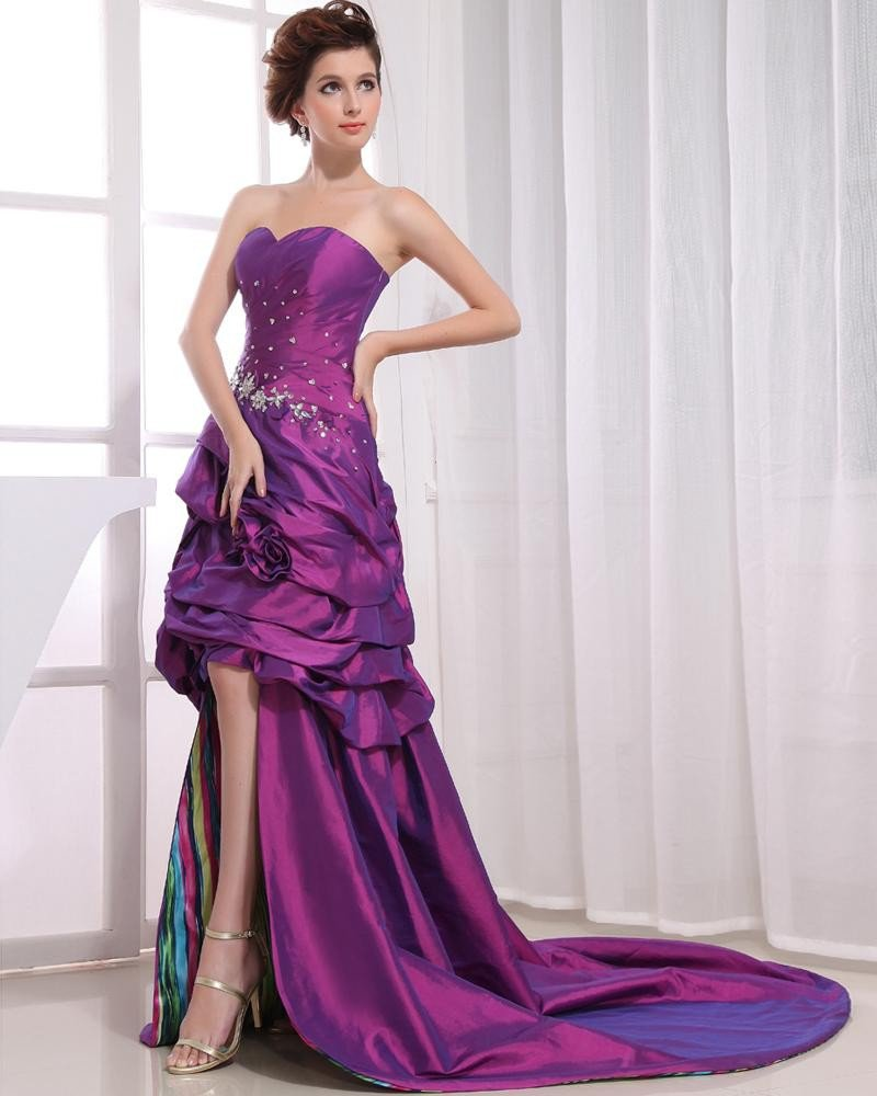 Asymmetrical Length Sleeveless Sweetheart Neckline Beading Pleated Taffeta Woman High Low Prom Dress