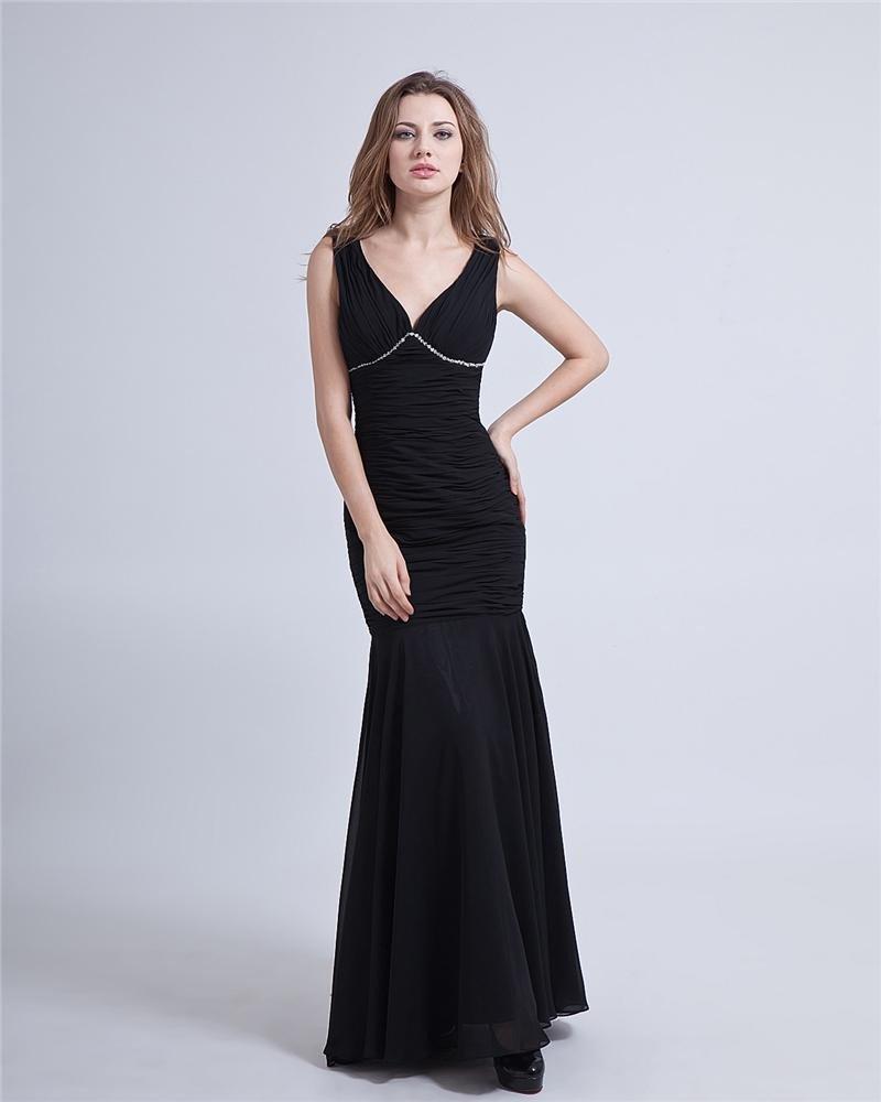 Sheath Halter Floor Length Chiffon Sexy Evening Prom Dresses