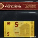 EURO 5 Gold Banknote Plated With 99.9% 24K Gold With COA *NEW DESIGN* *New & Rare*