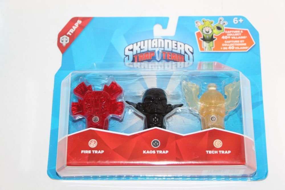 Skylanders Trap Team 3 pack Traps Set Kaos Fire Slapper Tech Flying Helmet NEW