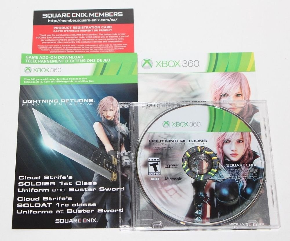 Xbox 360 Final Fantasy XIII: Lightning Returns GAME +Cloud Strife DLC NEVER USED