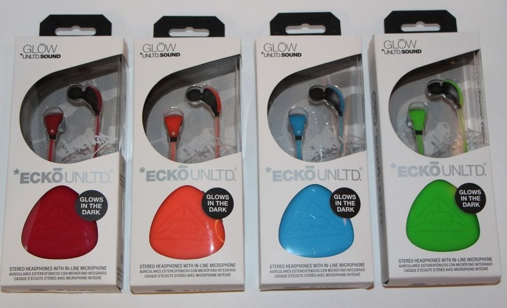 ECKO UNLTD SOUND GLOW STEREO HEADPHONES W MIC ORANGE/BLUE/GREEN/RED NEW
