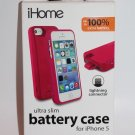 iPhone 5/5s iHome Ultra Slim Battery Case 2000 mAH Battery  PInk NEW
