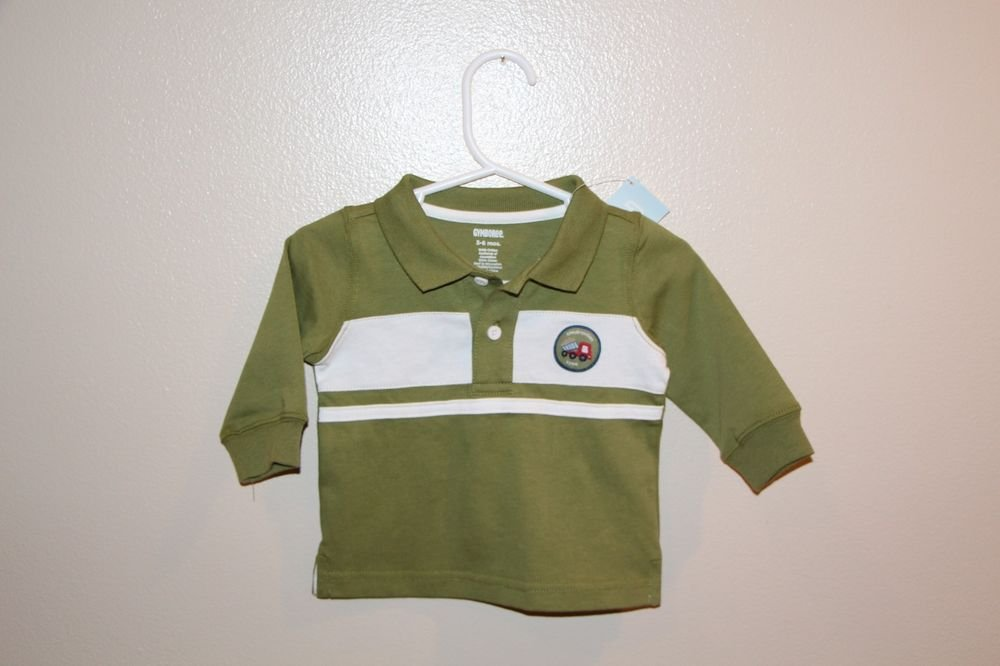 Gymboree Boys Construction Zone Long Sleeve Polo 3-6 Months Green w/white  NEW