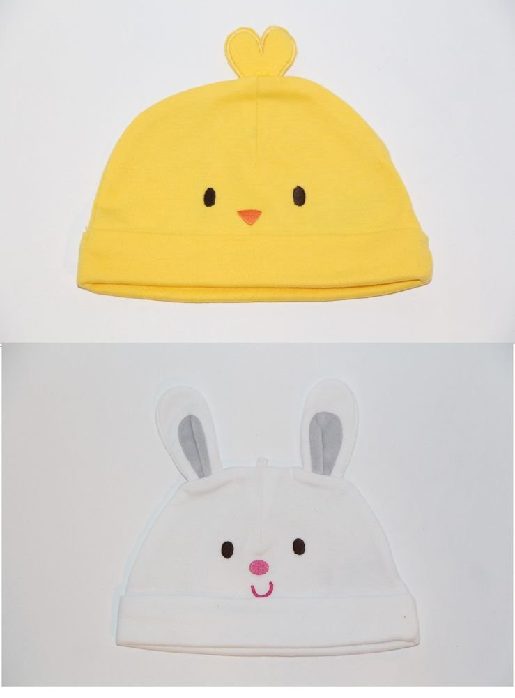 Carter's Just One Year Chick Hat & Bunny Hat Baby Easter Hat 6-12 months