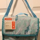 Embark Messenger Lunch Tote Insulated Lunch Box Teal Feather Print Turquoise NWT