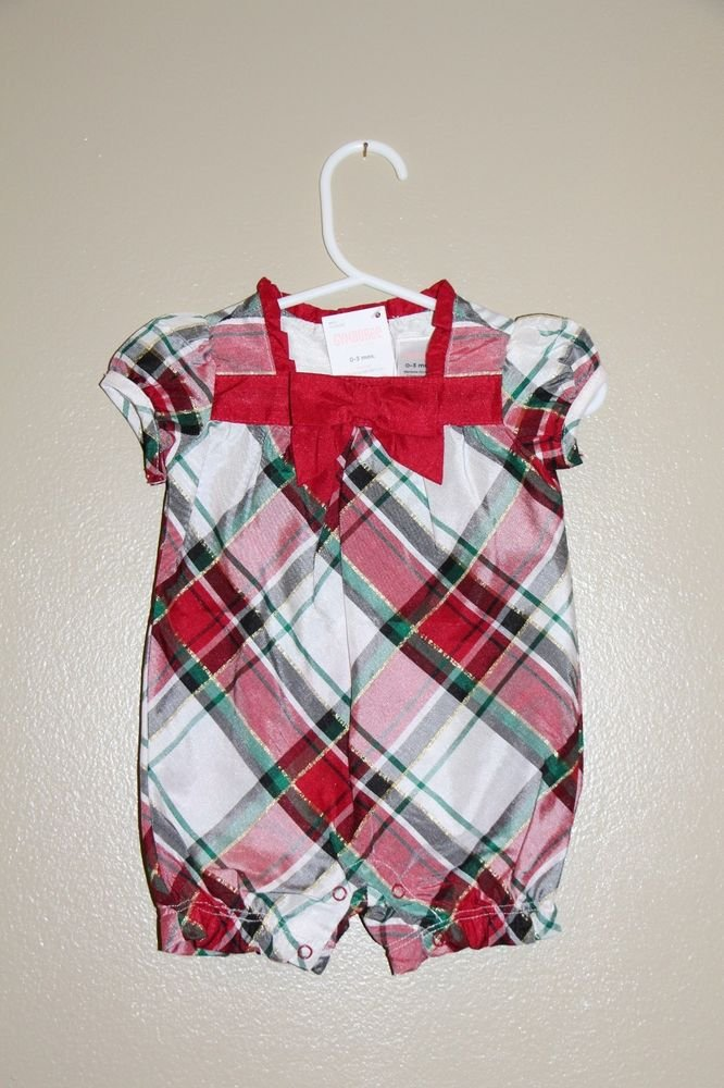 GENUINE Gymboree JOYFUL HOLIDAY Plaid Romper outfit 0-3 mos red/green/ivory NWT