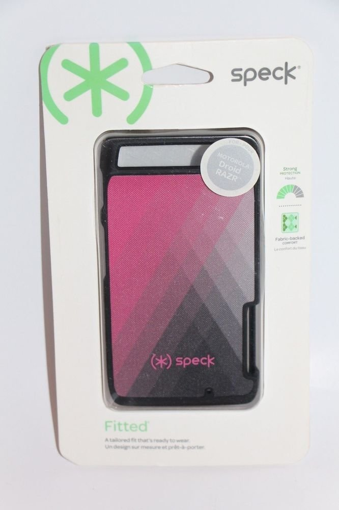 Speck Fitted Diamond Fog Pink Fabric Back Black Motorola Droid Razer Phone Case