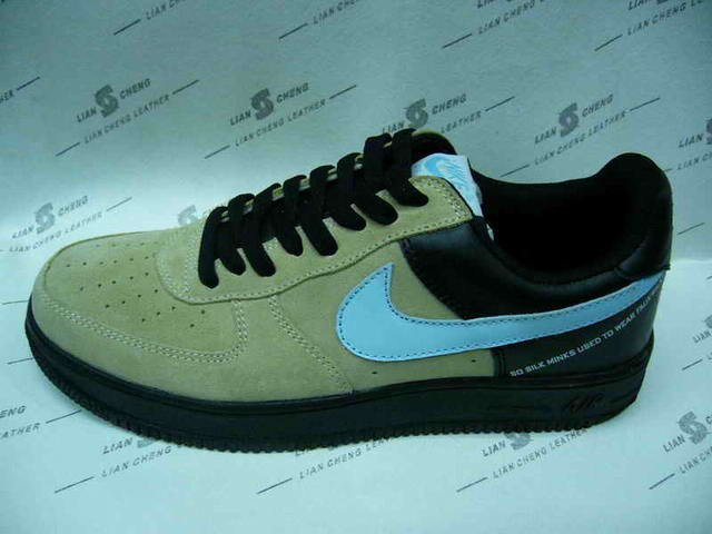Nike Air Force 1 - Beige Suede/Black/Carolina Blue Low