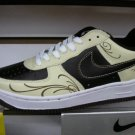 Nike Air Force 1 - Black/Cream Swirls/White Low