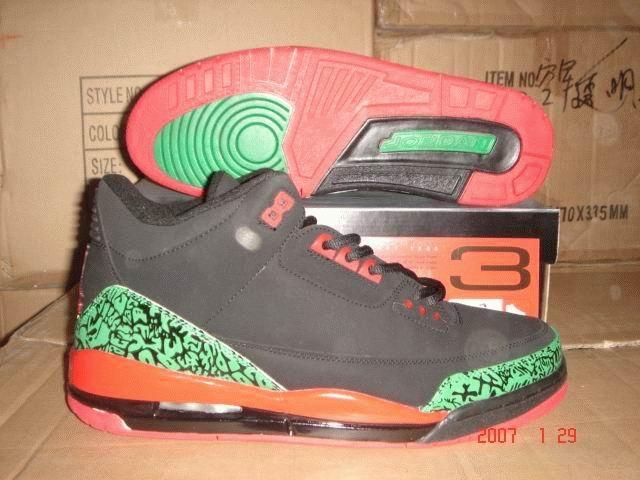 Air Jordan 3 Retro Black/Green/Orange