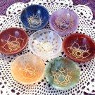 Chakra Bowls Crystal healing 7 Gemstone Symbol Bowl Set Lapis Amethyst Quartz Aventurine reiki Stone