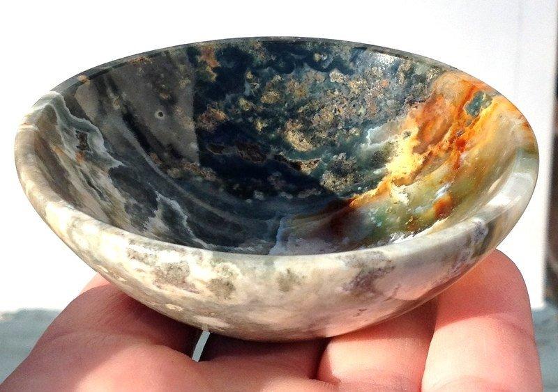 Metaphysical Crystal Healing Ocean Jasper Gemstone Bowl Stone Altar Offering Water Element magic