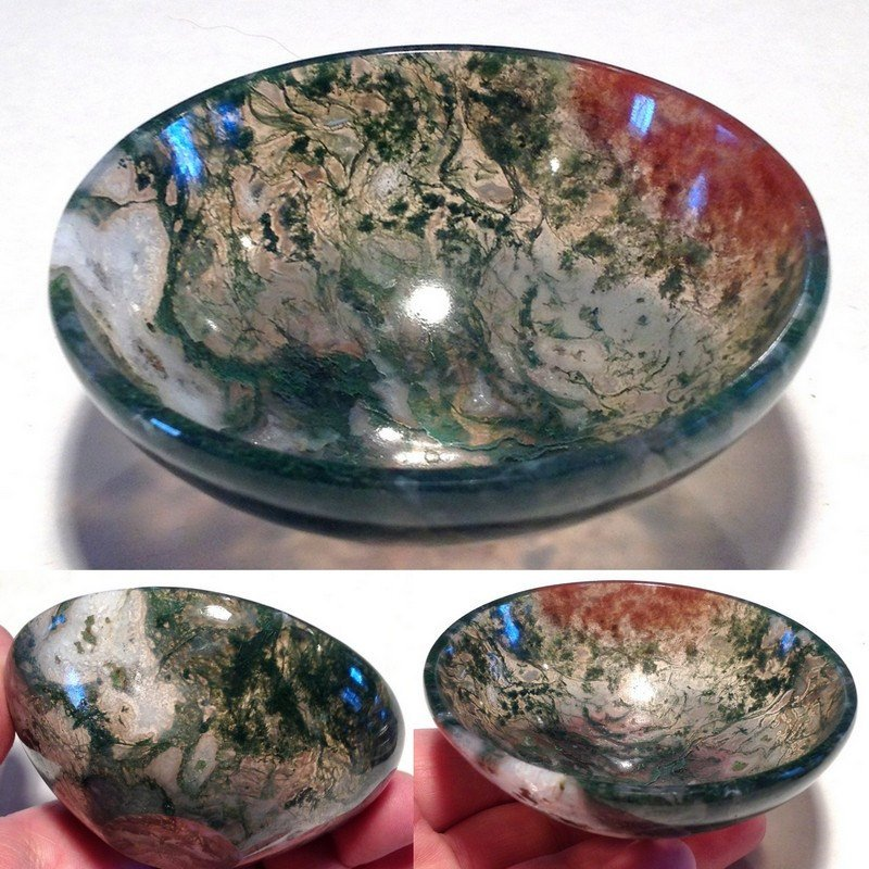 "3"" Gemstone Bowls Moss Agate Red Hematite Crystal Healing Stone Altar Devotional Offering bowl"