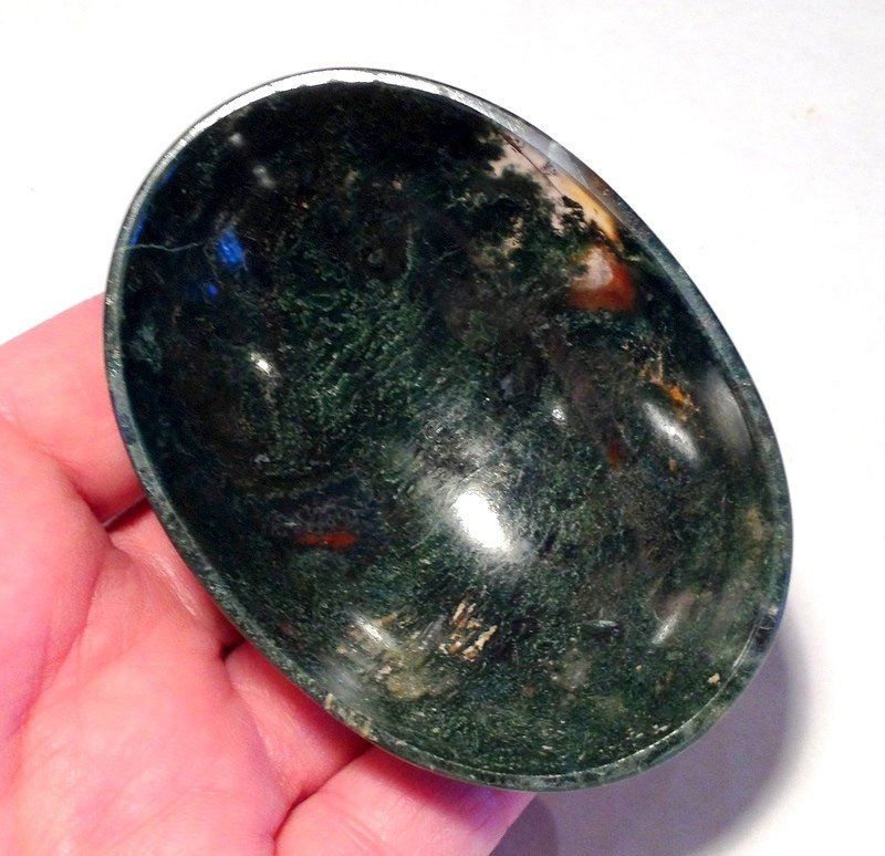 Dark Moss Agate Gemstone Bowls Abundance Healing Crystals Devotional Stone Altar Offering bowl
