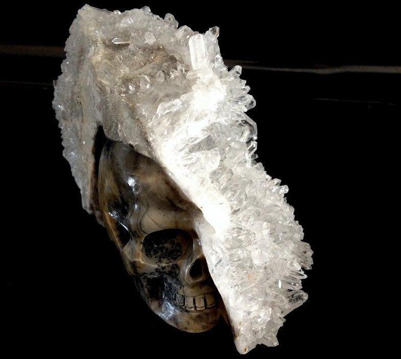 "Crystal Skulls 5"" Dendritic Agate Quartz Cluster Druzy Half Skull Divination Magick Metaphysical"