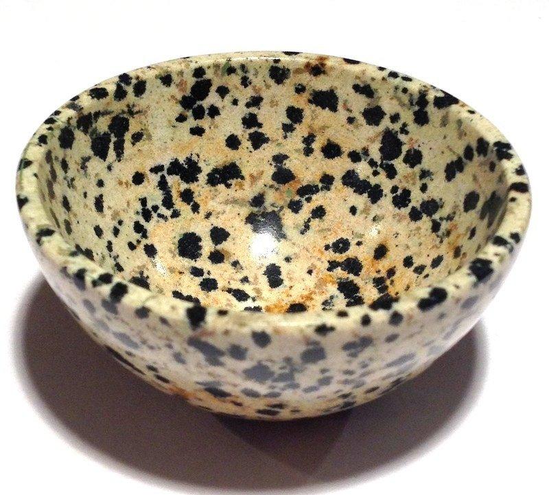Gemstone bowls Healing crystals Dalmation Jasper Black Tourmaline Stone Devotional Altar Bowl