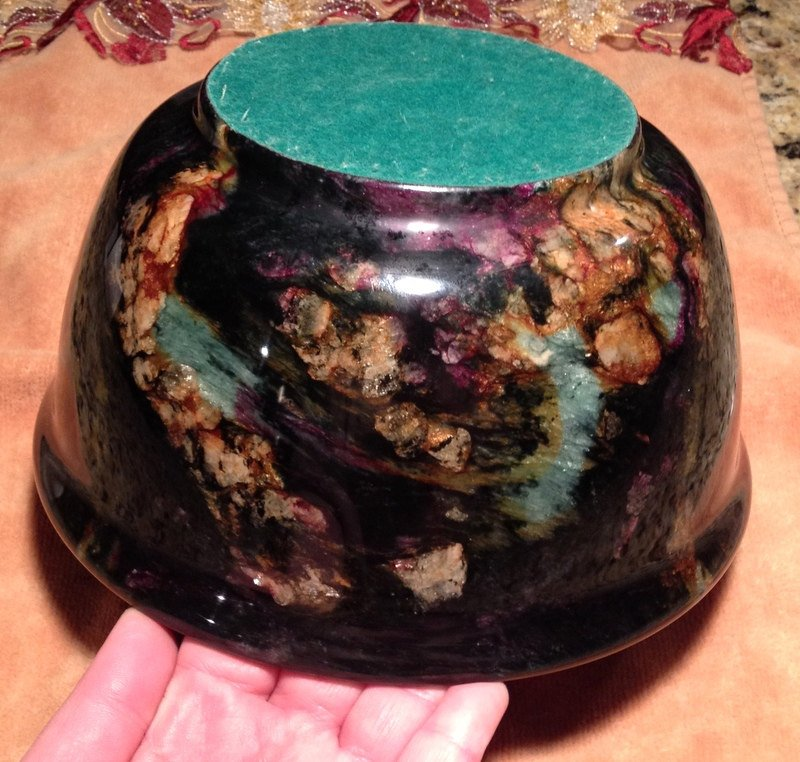 "8"" Apache Chrysocolla Gemstone bowl Shattuckite Hematite ruby copper crystal healing positive energy"