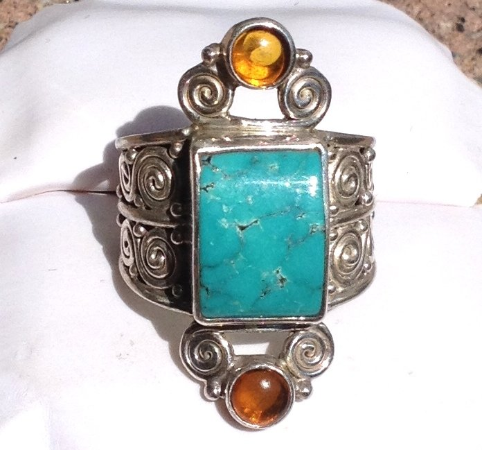 Energy Magick Healing Crystals Sajen Turquoise 925 Silver Ring Programmed Protection Psychic Ability