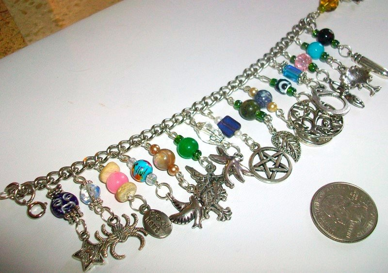 Wiccan Earth Energy Charm Bracelet Metaphysical Wicca Pentagram Fairy Gemstones Moon Goddess Mermaid