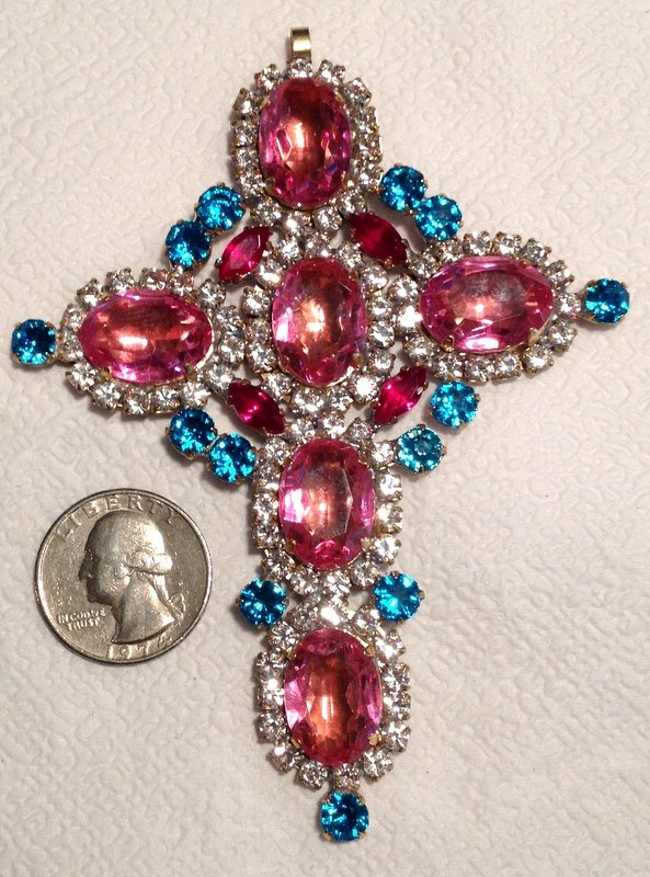 """4.3"""" Extra Large Glass Rhinestone Cross Pendant Vintage Religious Christian Jewelry Pink Blue Red"""