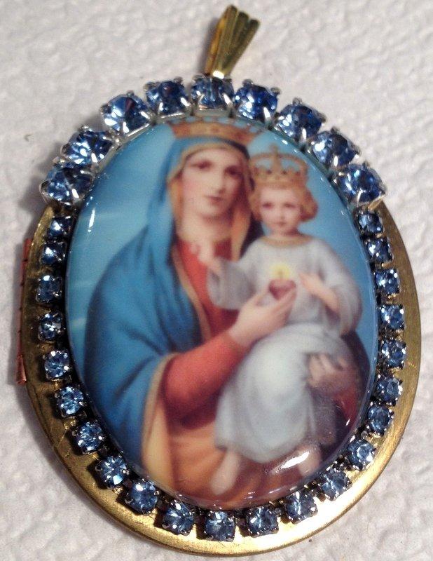 Vintage Religious Rhinestone Prayer Petition Locket Porcelain Cameo Virgin Mary Jesus Christ