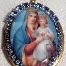 Vintage Religious Rhinestone Prayer Petition Locket Porcelain Cameo Virgin Mary Jesus Christ