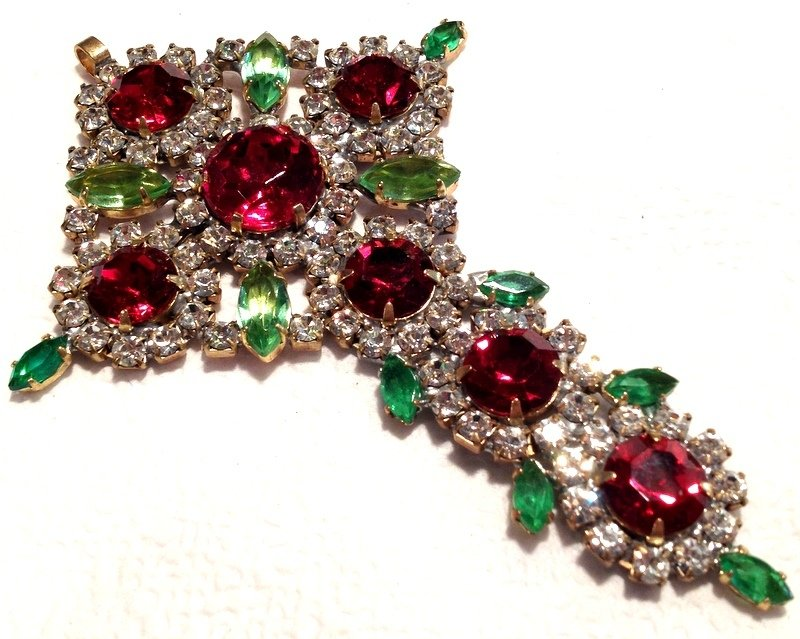 "Huge 4.2"" Crystal Rhinestone Cross Red Green Pendant Christmas Ornament Ladies Christian Jewelry"