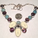 Large Triple Goddess Face Purple Mystic Topaz Blue Chalcedony Gemstone Necklace Sterling Silver
