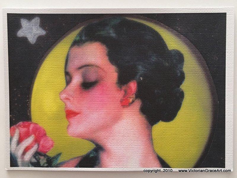 Giclee Fine Art Metaphysical Fantasy Print Pink Rose Art Deco Lady Love Spell Full Moon Magic