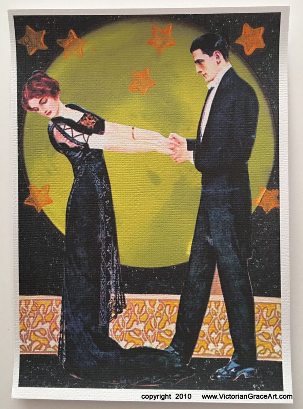 Moonlight Romance Full Moon Dance Giclee Fine Art Print Spiritual Fantasy Deco Couple