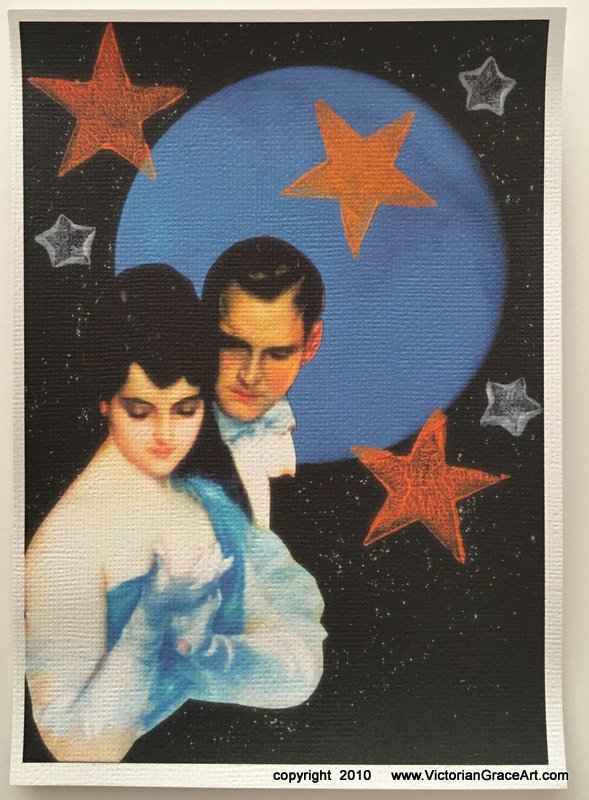 Blue Full Moon Starry Night Romance Deco Couple Giclee Fine Art Print Metaphysical Spiritual Fantasy