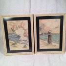 "Set of 2 Don Russell matted and framed signed bird prints - ""Summer Storm"""