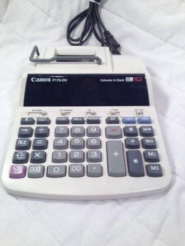 Canon P170-DH 2 Total Printing Desktop Calculator 12 Digit w/ Calendar & Clock!