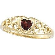 Mozambique Garnet  Heart Ring