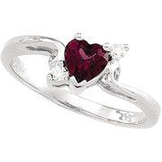 Rhodolite and Diamond Heart Ring