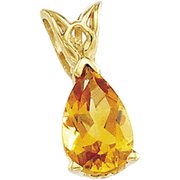 Genuine Citrine Pear Scroll Pendant