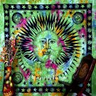 Celestial Green Sun and Moon Star Tapestry Throw Bedspread