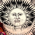 Black and White Psychedelic Sun and Moon Star Tapestry