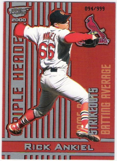 RICK ANKIEL 2000 Revolution Triple Header Holographic Silver ROOKIE Card #30 St Louis Cardinals #'d