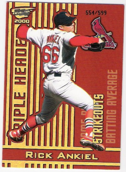 RICK ANKIEL 2000 Revolution Triple Header Holographic Gold ROOKIE Card #30 St Louis Cardinals #'d