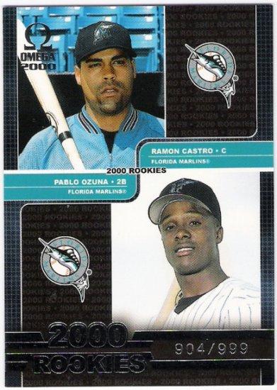 RAMON CASTRO & PABLO OZUNA 2000 Pacific Omega Rookies Card #180 #'d FREE SHIPPING Florida Marlins #d
