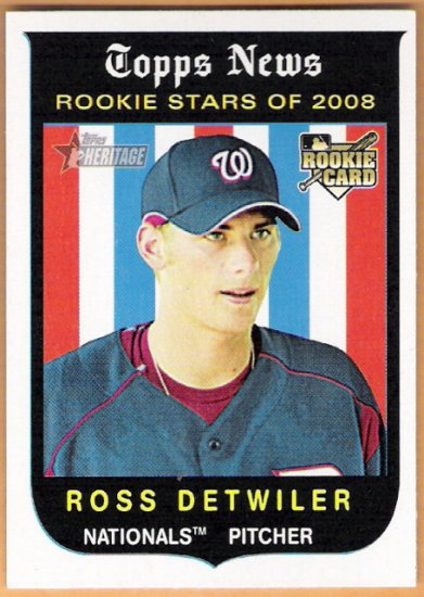 ROSS DETWILER 2008 Topps Heritage Black Back ROOKIE Card #122 Washington Nationals FREE SHIPPING