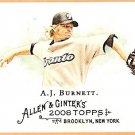 A.J. BURNETT 2008 Topps Allen & Ginter A&G Back Mini Short Print Insert Card #23 TORONTO BLUE JAYS