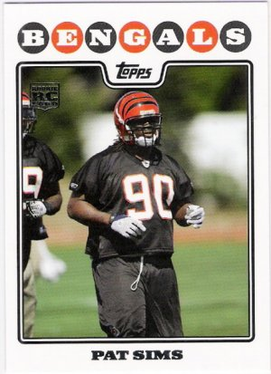 PAT SIMS 2008 Topps ROOKIE Card #396 Cincinnati Bengals FREE SHIPPING Auburn Tigers