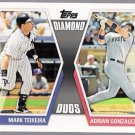 MARK TEIXEIRA & ADRIAN GONZALEZ 2011 Topps Diamond Duos INSERT Card #DD-25 Yankees Red Sox