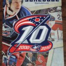 COLUMBUS BLUE JACKETS 2010-2011 Season Pocket Schedule 10 Year Anniversary Nationwide Arena Hockey
