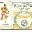 STEPHEN STRASBURG 2012 Topps Allen & Ginter What's In A Name INSERT Card #WIN89 WASHINGTON NATIONALS