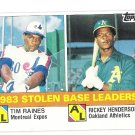 RICKEY HENDERSON & TIM RAINES 1984 Topps SB Leaders Card #134 OAKLAND A'S Baseball FREE SHIPPING 134
